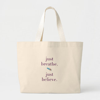 Just Breathe Yoga Feather Quote Tote