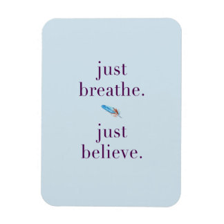 Just Breathe Yoga Mantra Feather Magnet