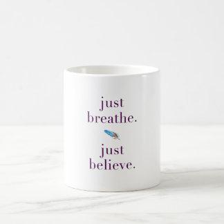 Just Breathe Yoga Quote Feather Mug