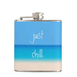 Just Chill Zen Abstract Tropical Beach Ombre Party Hip Flask