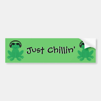 Just Chillin' Frogs With Headphones & Shades Car Bumper Sticker