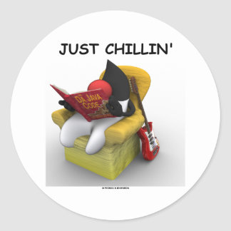 Just Chillin' (Java Duke Mascot Character) Round Stickers