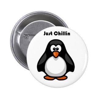Just Chillin Penguin Cartoon 6 Cm Round Badge