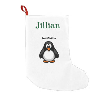 Just Chillin Penguin Hanging Out Cartoon Small Christmas Stocking