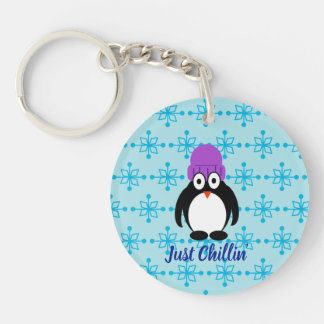 Just Chillin' Penguin In Purple Hat Key Ring