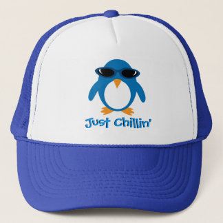 Just Chillin' Penguin With Sunglasses Trucker Hat