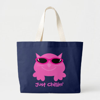 Just Chillin' Pink Cat With Sunglasses Large Tote Bag