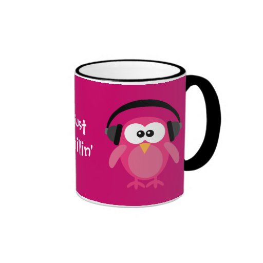 Just Chillin' Pink Owls With Headphones Coffee Mug