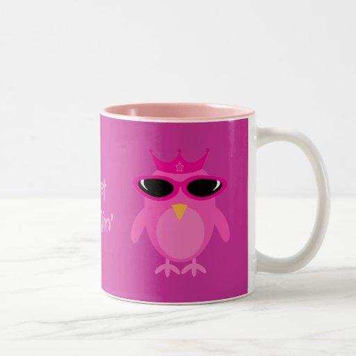 Just Chillin' Pink Princess Owls With Sunglasses Coffee Mug