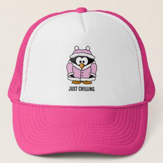 Just Chilling, Funny Penguin Trucker Hat