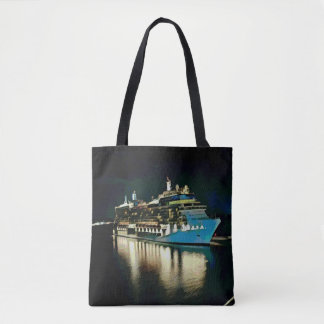 Just Cruising Travel Ship Night Photography Tote Bag