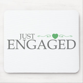 Just Engaged (Green Heart Scroll) Mouse Pad