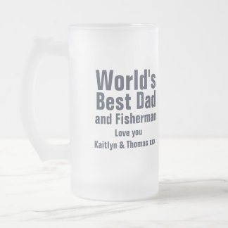 Just fishing world's best dad and fisherman glass frosted glass beer mug