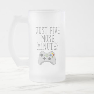 JUST FIVE MORE MINUTES FROSTED GLASS BEER MUG