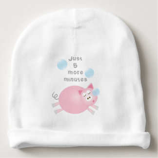 Just Five More Minutes Funny Sleepy Pig Unisex Baby Beanie