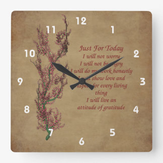 Just For Today Flowering Tree Inspirational Clock