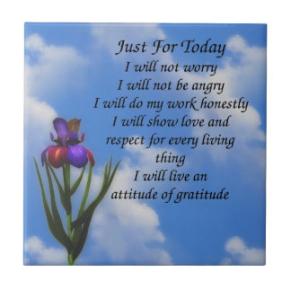Just For Today Inspirational Prayer Ceramic Tile
