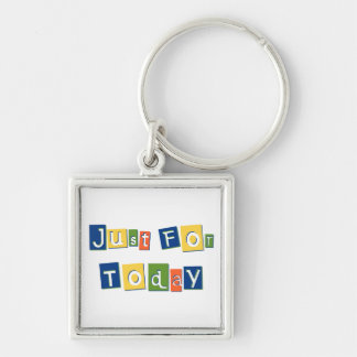 Just for Today Silver-Colored Square Key Ring
