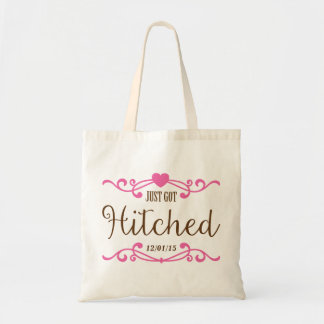 Just Got Hitched Customized Wedding Date Budget Tote Bag