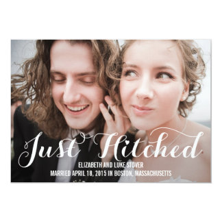 Just Hitched Wedding Announcement - White