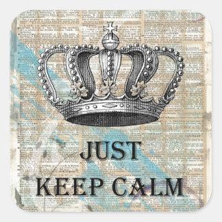 Just Keep Calm Vintage Abstract Art Grunge Design Square Sticker