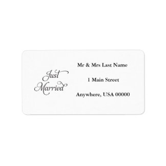 Just Married Address Lables Address Label