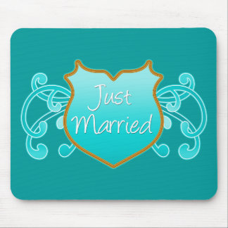 Just Married Aqua and Gold Shield with Flourishes Mouse Pad