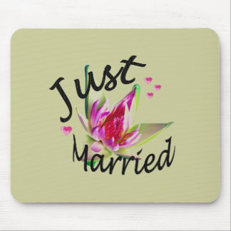 Just Married Asian Floral Mousepad