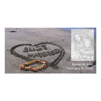 Just Married Beach Photo Greeting Card