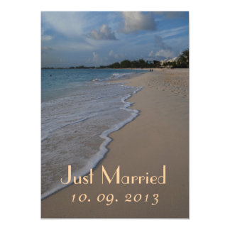Just Married Beach Wedding Photo Announcement