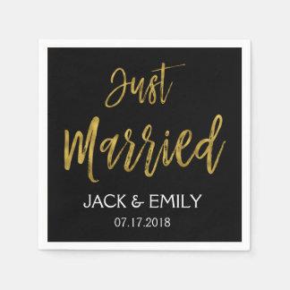 Just Married Black and Gold Foil Napkins Paper Napkin