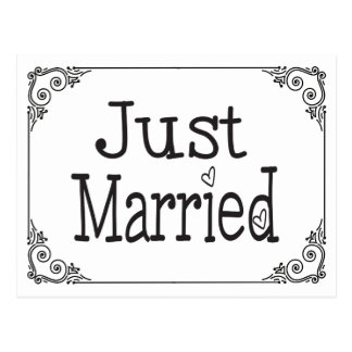 Just Married Black & White Heart Wedding Postcard