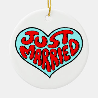 Just Married Blue Heart Round Ceramic Decoration