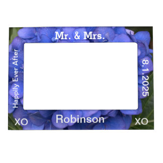 Just Married Blue Hydrangea Wedding Photo Frame Magnet
