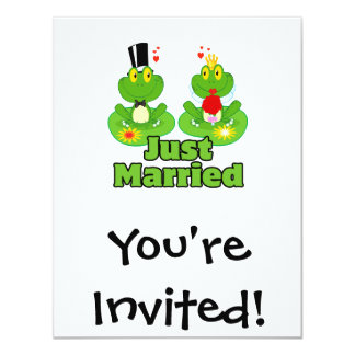 just married bride and groom froggy frogs card