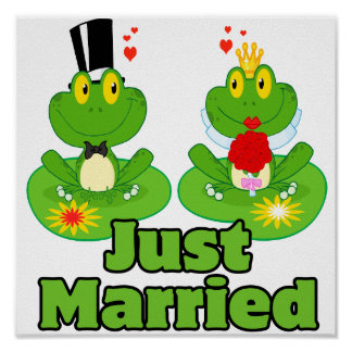 just married bride and groom froggy frogs print