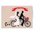 Just married, bride and groom on wedding bicycle card
