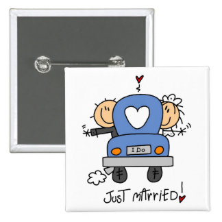 Just Married Bride and Groom T-shirts and Gifts Pinback Button