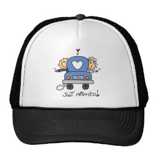 Just Married Bride and Groom T-shirts and Gifts Mesh Hats