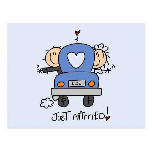 Just Married Bride and Groom T-shirts and Gifts Post Card