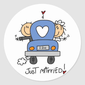 Just Married Bride and Groom T-shirts and Gifts Round Sticker