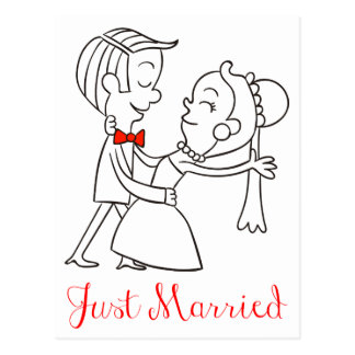 Just Married Bride And Groom Wedding Announcement Postcard