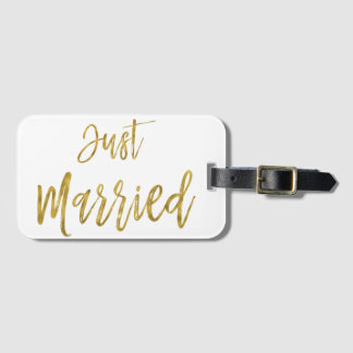 Just Married Bride Gold Foil Luggage Bag Tag