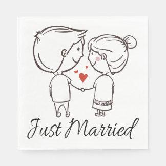 Just Married Bride Groom Cartoon Black Wedding Disposable Napkins