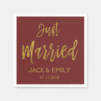 Just Married Burgundy and Gold Foil Napkins Disposable Serviette