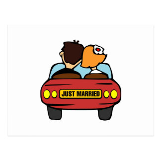 Just Married Car and Couple Postcard
