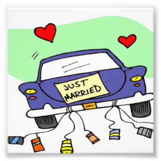 Just Married Car Art Photo