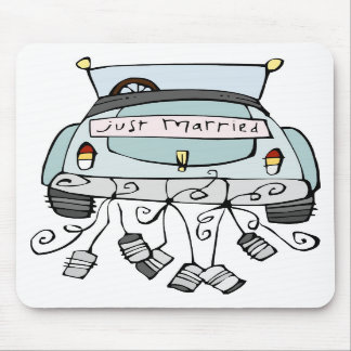 Just married car dragging cans mousepads