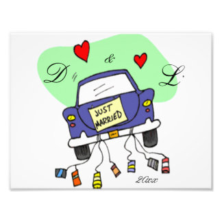 Just Married Car Photographic Print
