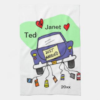Just Married Car Tea Towel